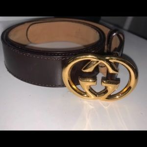 ISO Gucci Brown Belt Gold Double G Heart Buckle